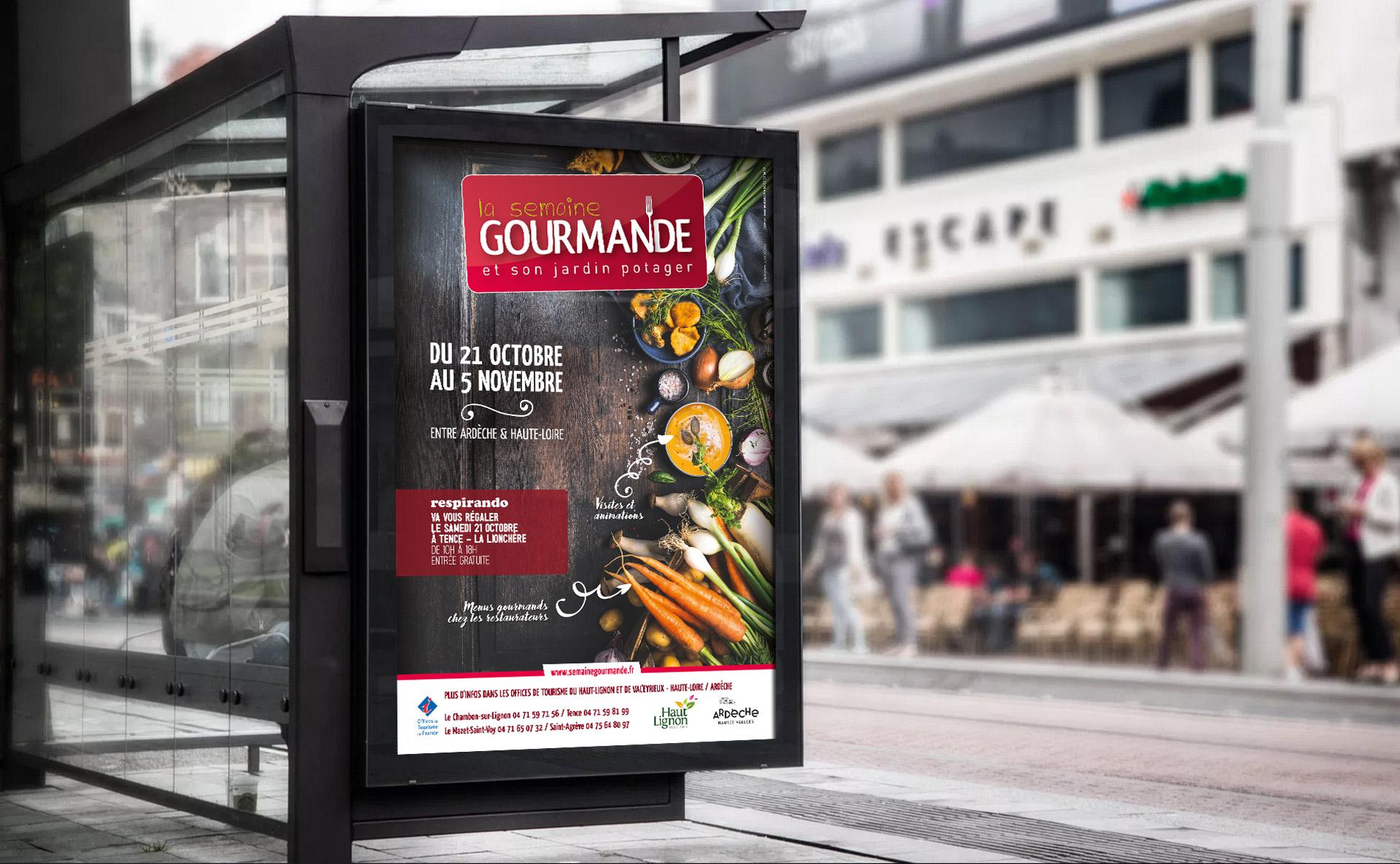 Campagne événementielle de la semaine gourmande en Haute-Loire créée par l'agence studio N°3