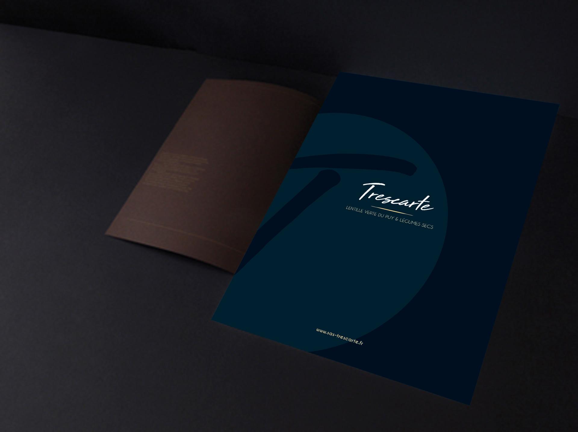 Pochette entreprise avec Identité visuelle Trescarte par l'agence studio N°3